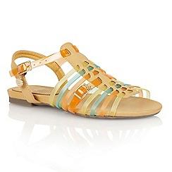Lotus - Tan multi 'Balos' flat sandals