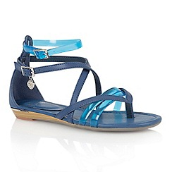 Lotus - Blue multi 'Zanzi' toe post sandals