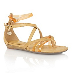 Lotus - Tan multi 'Zanzi' toe post sandals