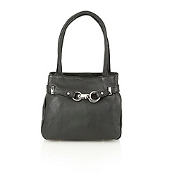 Lotus - Black leather 'Magnolia' small tote handbags