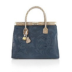 Lotus - Navy blue leather 'Fabienne' tote handbags