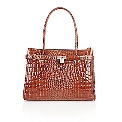 Lotus - Brown leather 'Kamala' tote handbags