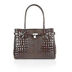 Lotus - Dark brown leather 'Kamala' tote handbags