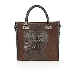 Lotus - Brown leather 'Zola' tote handbags