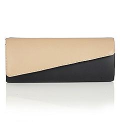 Lotus - Navy beige leather 'Nancy' clutch bag