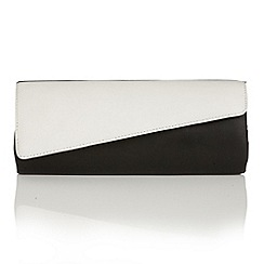 Lotus - Black white leather 'Nancy' clutch bag
