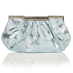 Lotus - Blue reptile print 'Magenta' clutch bag