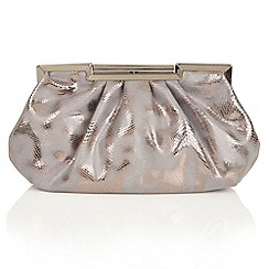 Lotus - Gold reptile print 'Magenta' clutch bag