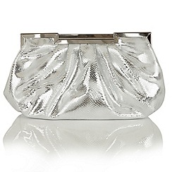 Lotus - Silver reptile print 'Magenta' clutch bag