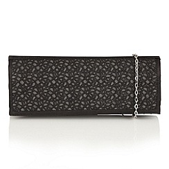 Lotus - Black satin mesh 'Roma' clutch bag