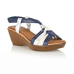 Lotus - Navy multi 'Barcelona' open toe sandals