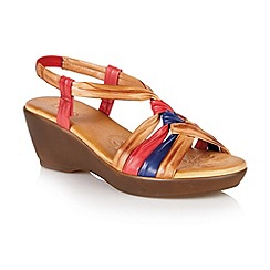 Lotus - Tan multi 'Barcelona' open toe sandals