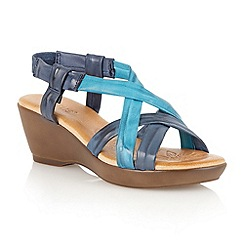 Lotus - Blue multi 'Cadiz' open toe sandals