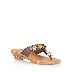 Lotus - Brown 'Sicily' toe-post sandals