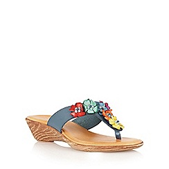 Lotus - Navy multi 'Sicily' toe post sandals
