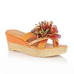 Lotus - Orange 'Catania' toe-post sandals