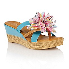 Lotus - Turquoise 'Catania' wedge sandals