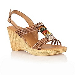 Lotus - Light brown 'Sardinia' open toe sandals