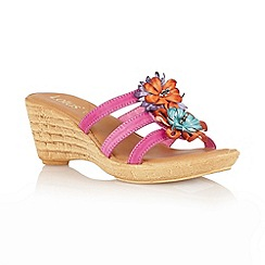 Lotus - Fuchsia mulit 'Pula' open toe mules sandals
