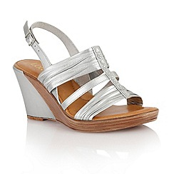 Lotus - Silver metallic 'Chilivani' wedge sandals
