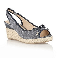 Lotus - Navy 'Rila' wedge sandals