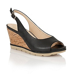 Lotus - Lotus black 'Maron' wedge sandals