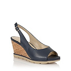 Lotus - Lotus navy 'Maron' wedge sandals