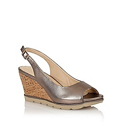 Lotus - Pewter 'Maron' open toe sling-back sandals