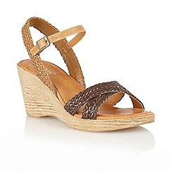 Lotus - Dark brown 'Ferrar' open toe sandals
