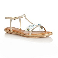 Lotus - Light gold metallic 'Rimini' T-bar open toe sandals