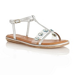 Lotus - Pewter metallic 'Rimini' T-bar open toe sandals