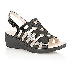 Lotus - Black shiny 'Lamar' ladies open toe sandals