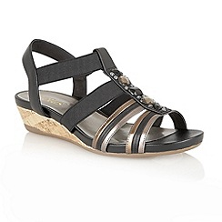 Lotus - Black leather metallic 'Joda' open toe sandals