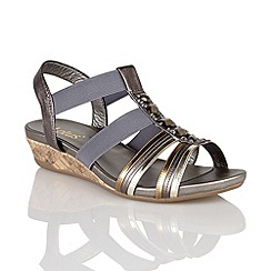 Lotus - Pewter leather metallic 'Joda' open toe sandals