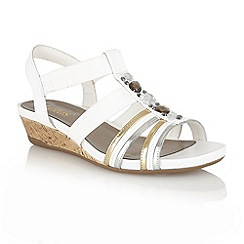 Lotus - White leather metallic 'Joda' open toe sandals