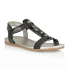 Lotus - Black shiny 'Myrtill' open toe sandals