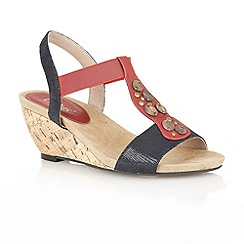 Lotus - Navy/red 'Enigo' open toe wedge sandals