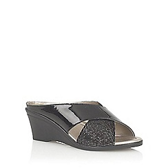 Lotus - Black/snake 'Trino' open toe mules