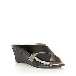 Lotus - Black  patent 'Trino' open toe mules