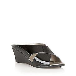 Lotus - Black  patent 'Trino' open toe mules