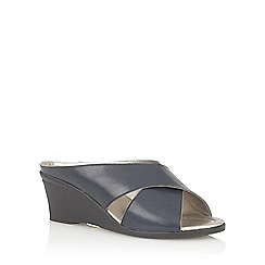 Lotus - Navy 'Trino' open toe mules