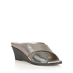 Lotus - Pewter/snake 'Trino' open toe mules