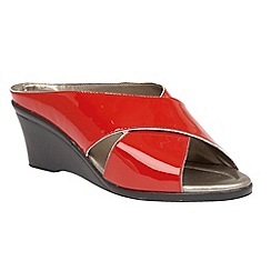 Lotus - Red patent 'Trino' open toe mules