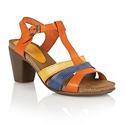 Lotus - Orange yellow blue leather 'Jubilee' open toe sandals