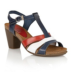 Lotus - Navy red white leather 'Jubilee' open toe sandals
