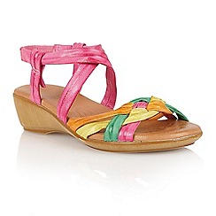 Lotus - Fuchsia multi leather 'Luxa' open toe sandals