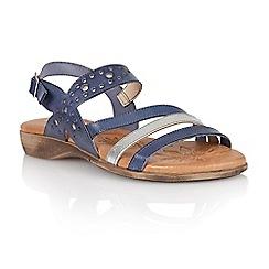 Lotus - Blue silver leather 'Palma' open toe sandals