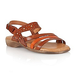 Lotus - Tan orange leather 'Palma' open toe sandals