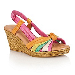 Lotus - Fuchsia multi leather 'Leslie' wedge sandals