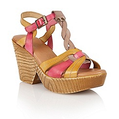 Lotus - Beige multi leather 'Burgos' wedge sandals